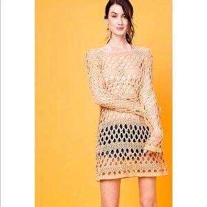 Tops - Apricot Crochet Knit Tunic